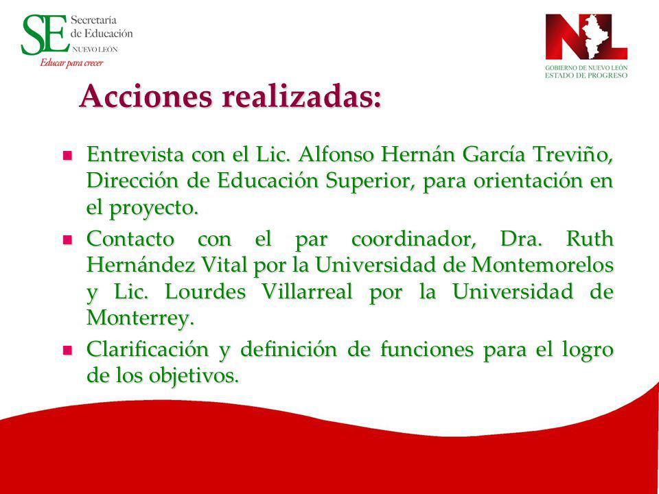 Acciones realizadas: Entrevista con el Lic. Alfonso Hernán García Treviño, Dirección de Educación Superior, para orientación en el proyecto. Entrevist
