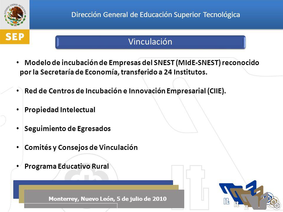 Dirección General de Educación Superior Tecnológica Monterrey, Nuevo León, 5 de julio de 2010 Vinculación Modelo de incubación de Empresas del SNEST (MIdE-SNEST) reconocido por la Secretaría de Economía, transferido a 24 Institutos.