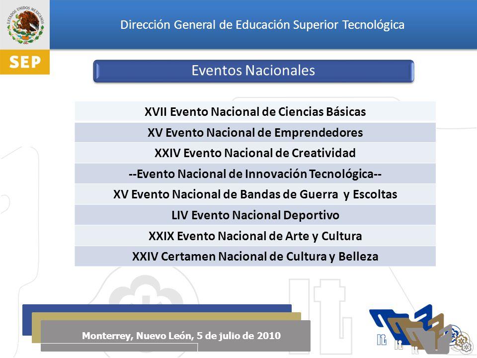 Dirección General de Educación Superior Tecnológica Monterrey, Nuevo León, 5 de julio de 2010 XVII Evento Nacional de Ciencias Básicas XV Evento Nacional de Emprendedores XXIV Evento Nacional de Creatividad --Evento Nacional de Innovación Tecnológica-- XV Evento Nacional de Bandas de Guerra y Escoltas LIV Evento Nacional Deportivo XXIX Evento Nacional de Arte y Cultura XXIV Certamen Nacional de Cultura y Belleza Eventos Nacionales