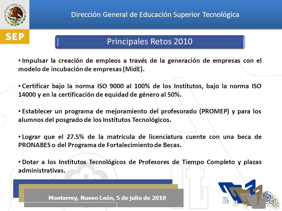 Dirección General de Educación Superior Tecnológica Monterrey, Nuevo León, 5 de julio de 2010 Principales Retos 2010 Impulsar la creación de empleos a través de la generación de empresas con el modelo de incubación de empresas (MidE).