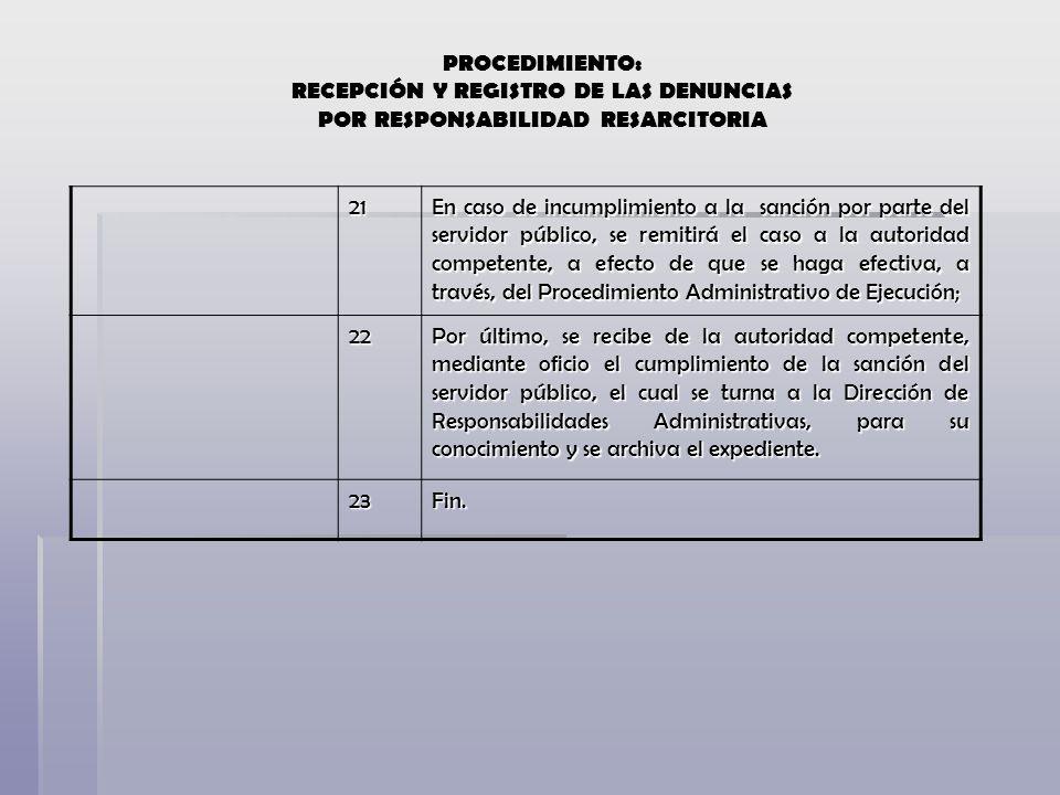 21 En caso de incumplimiento a la sanción por parte del servidor público, se remitirá el caso a la autoridad competente, a efecto de que se haga efect