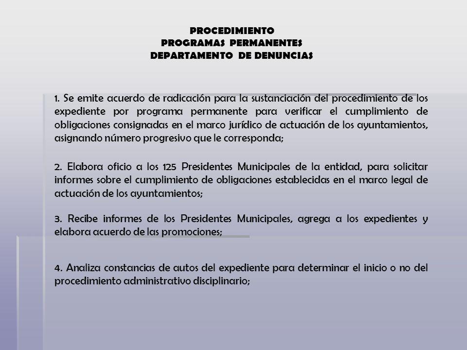 PROCEDIMIENTO PROGRAMAS PERMANENTES DEPARTAMENTO DE DENUNCIAS 1. Se emite acuerdo de radicación para la sustanciación del procedimiento de los expedie