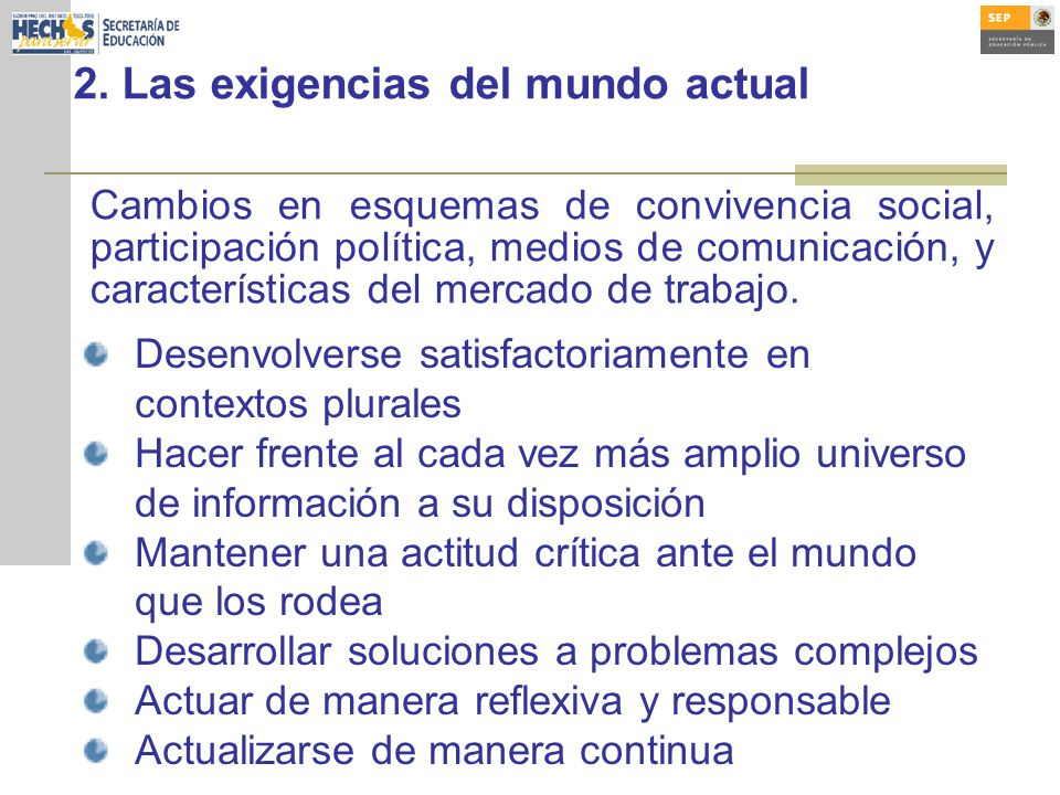 2. Las exigencias del mundo actual Cambios en esquemas de convivencia social, participación política, medios de comunicación, y características del me