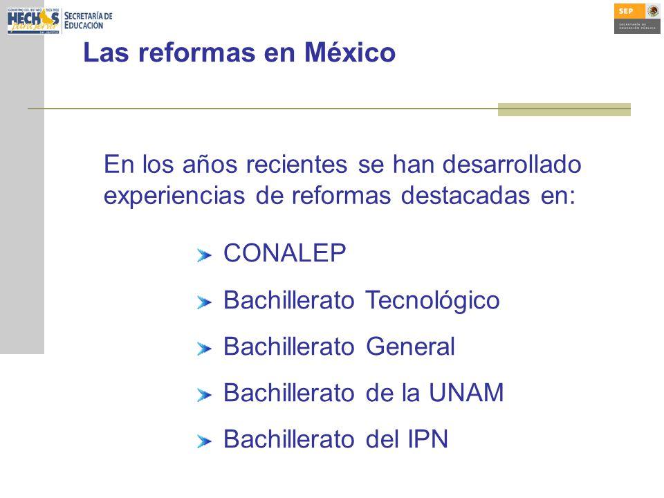 Las reformas en México CONALEP Bachillerato Tecnológico Bachillerato General Bachillerato de la UNAM Bachillerato del IPN En los años recientes se han desarrollado experiencias de reformas destacadas en: