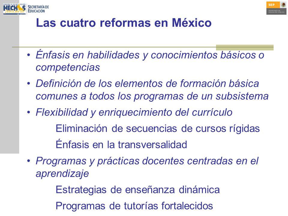 Las cuatro reformas en México Énfasis en habilidades y conocimientos básicos o competencias Definición de los elementos de formación básica comunes a todos los programas de un subsistema Flexibilidad y enriquecimiento del currículo Eliminación de secuencias de cursos rígidas Énfasis en la transversalidad Programas y prácticas docentes centradas en el aprendizaje Estrategias de enseñanza dinámica Programas de tutorías fortalecidos