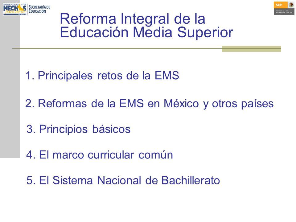 2. Reformas de la EMS en México y otros países 3. Principios básicos 4. El marco curricular común 5. El Sistema Nacional de Bachillerato 1. Principale