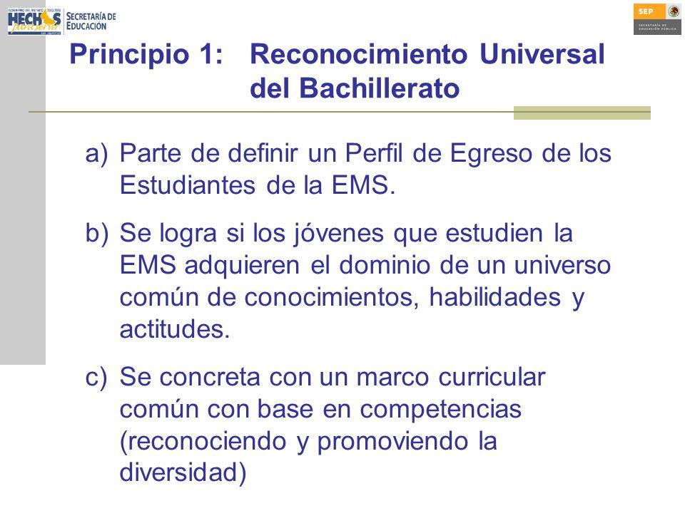 Principio 1:Reconocimiento Universal del Bachillerato a)Parte de definir un Perfil de Egreso de los Estudiantes de la EMS. b)Se logra si los jóvenes q