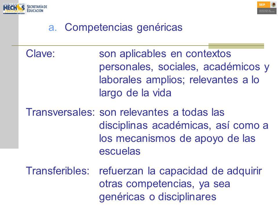 a.Competencias genéricas Clave:son aplicables en contextos personales, sociales, académicos y laborales amplios; relevantes a lo largo de la vida Tran