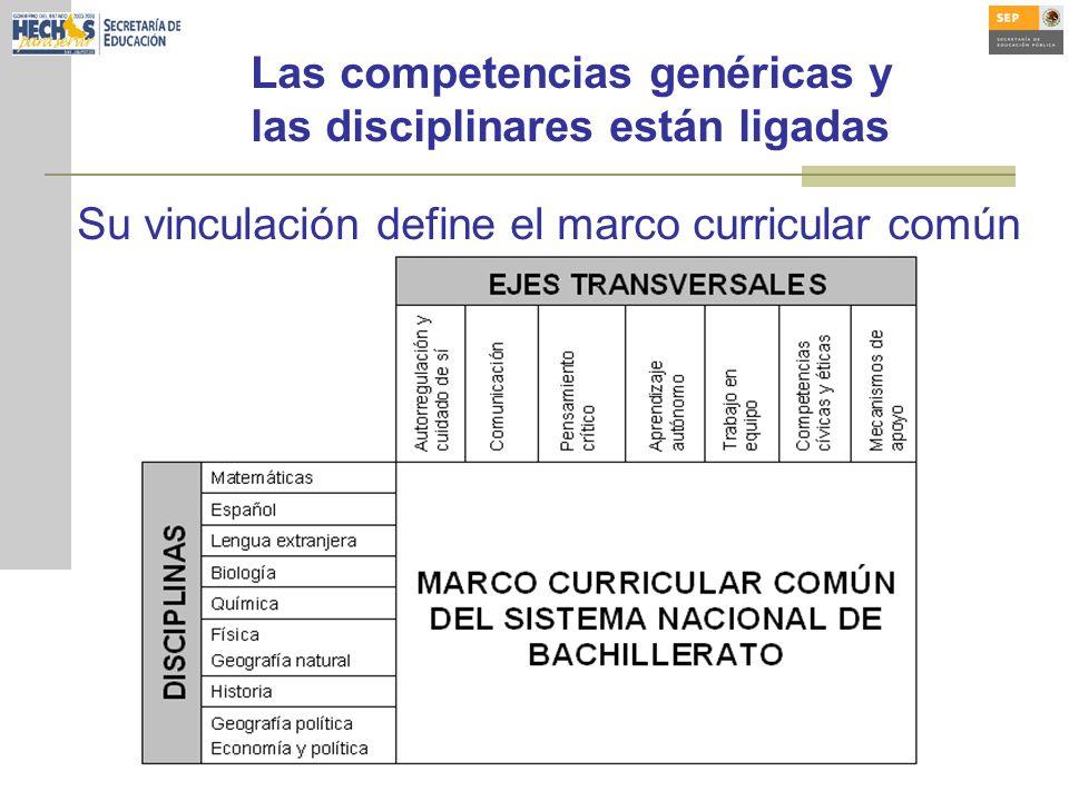 Las competencias genéricas y las disciplinares están ligadas Su vinculación define el marco curricular común