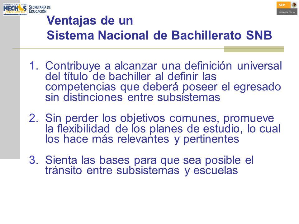 Ventajas de un Sistema Nacional de Bachillerato SNB 1.Contribuye a alcanzar una definición universal del título de bachiller al definir las competenci