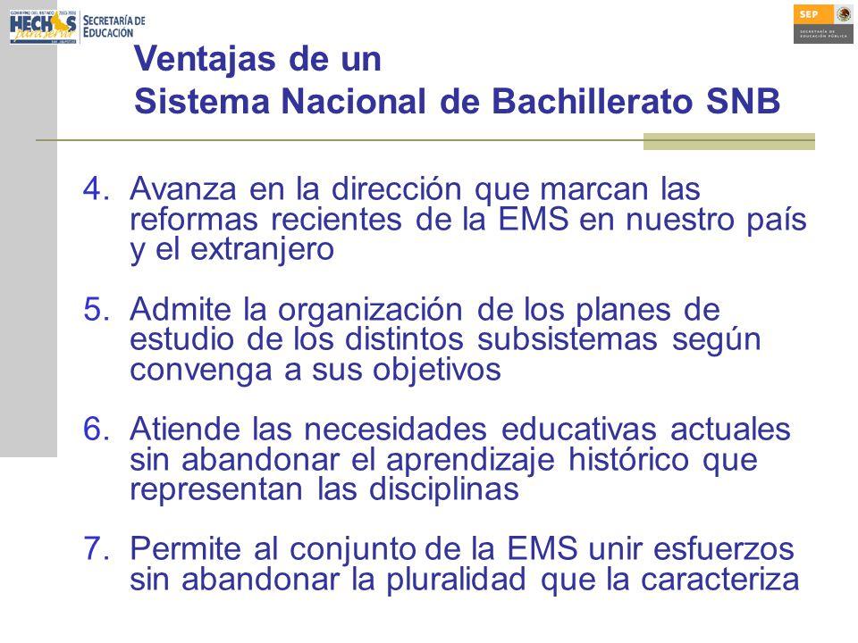 Ventajas de un Sistema Nacional de Bachillerato SNB 4.Avanza en la dirección que marcan las reformas recientes de la EMS en nuestro país y el extranje