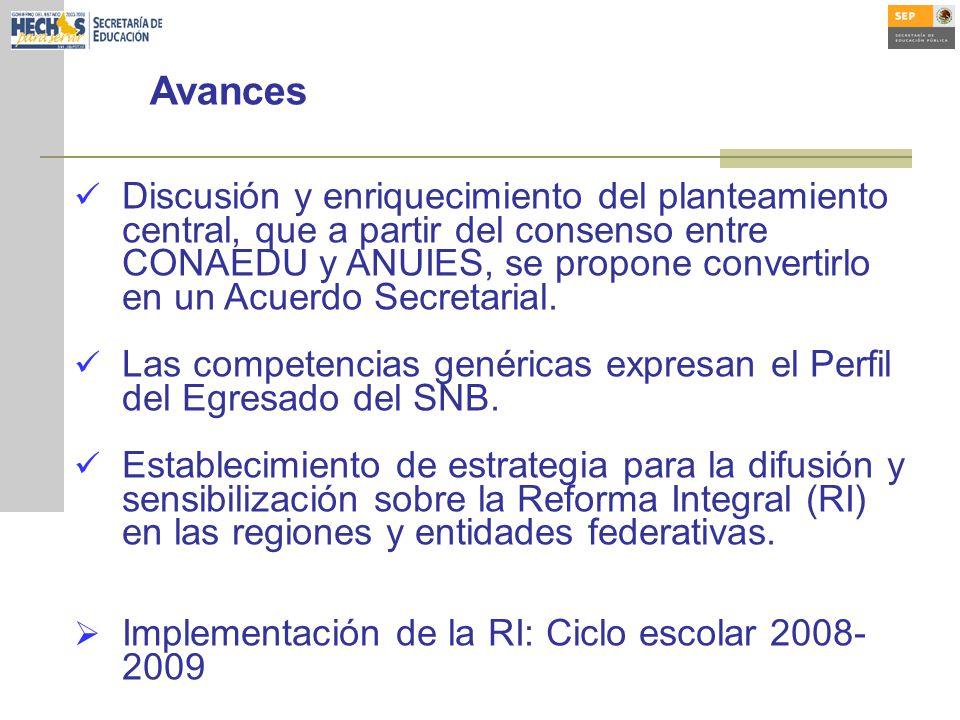 Avances Discusión y enriquecimiento del planteamiento central, que a partir del consenso entre CONAEDU y ANUIES, se propone convertirlo en un Acuerdo Secretarial.