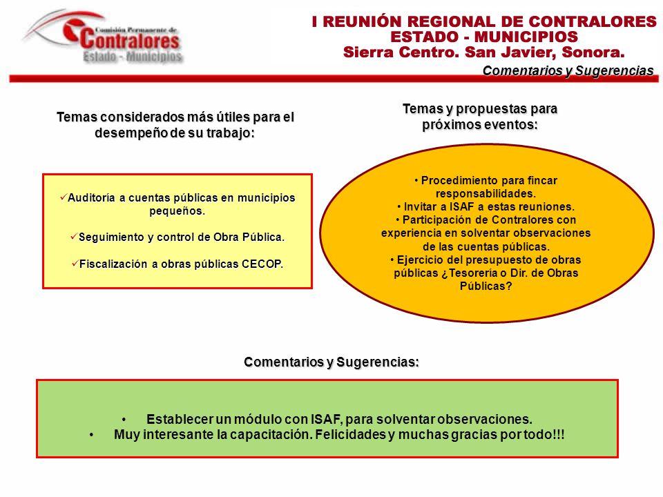Temas considerados más útiles para el desempeño de su trabajo: Comentarios y Sugerencias Auditoría a cuentas públicas en municipios pequeños.