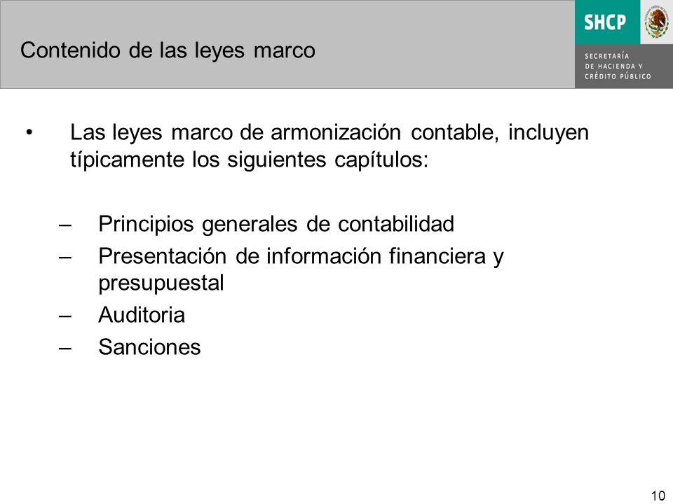 10 Contenido de las leyes marco Las leyes marco de armonización contable, incluyen típicamente los siguientes capítulos: –Principios generales de contabilidad –Presentación de información financiera y presupuestal –Auditoria –Sanciones