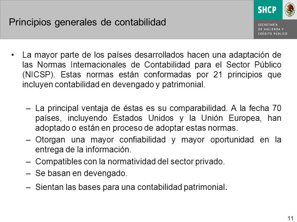 11 Principios generales de contabilidad La mayor parte de los países desarrollados hacen una adaptación de las Normas Internacionales de Contabilidad para el Sector Público (NICSP).