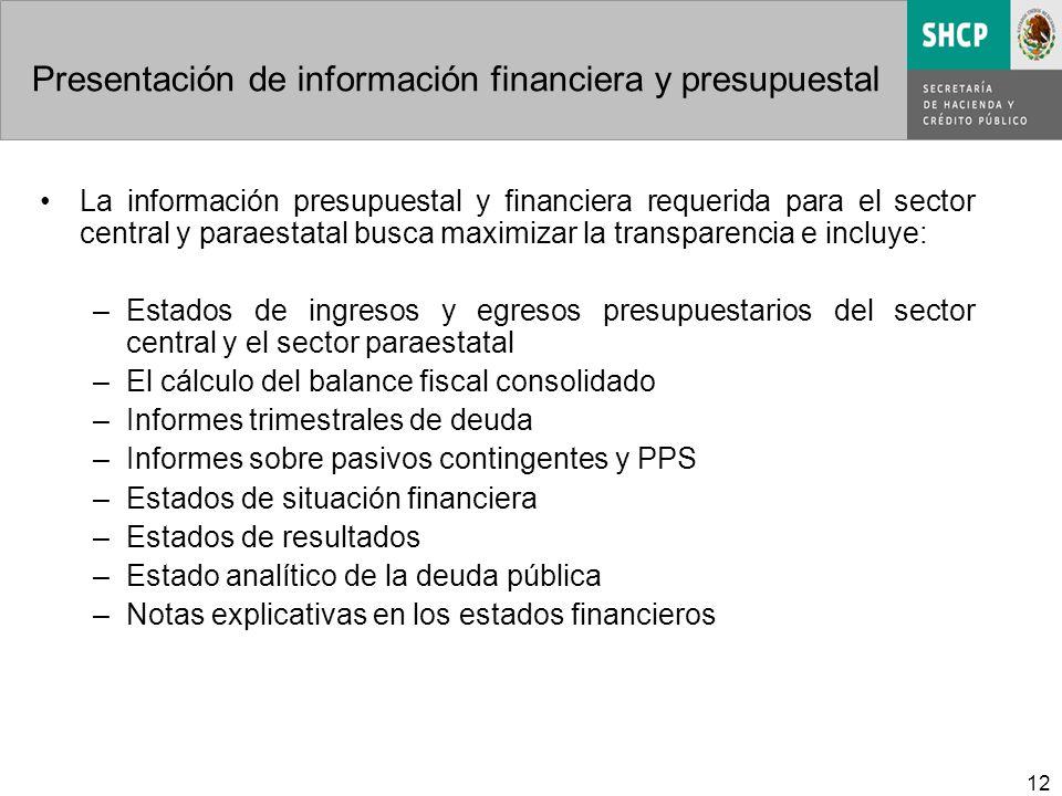 12 Presentación de información financiera y presupuestal La información presupuestal y financiera requerida para el sector central y paraestatal busca