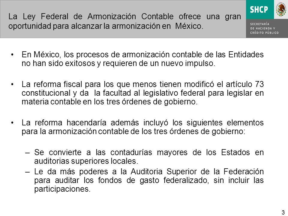 3 La Ley Federal de Armonización Contable ofrece una gran oportunidad para alcanzar la armonización en México. En México, los procesos de armonización