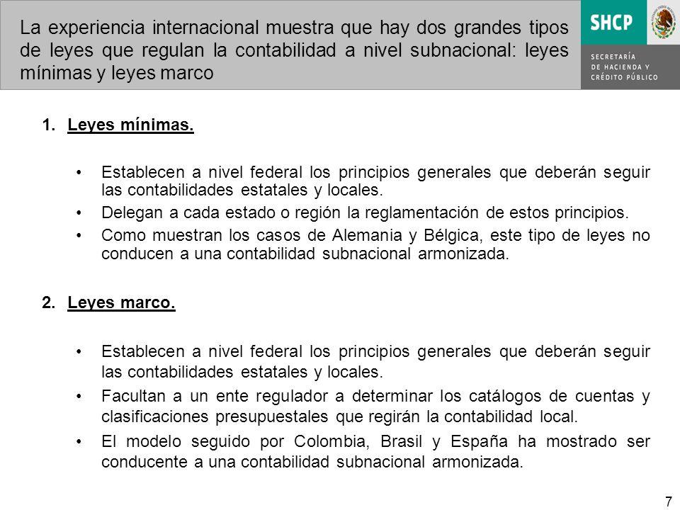 7 La experiencia internacional muestra que hay dos grandes tipos de leyes que regulan la contabilidad a nivel subnacional: leyes mínimas y leyes marco 1.Leyes mínimas.