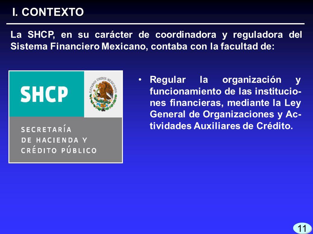 3 3 I. CONTEXTO 11 La SHCP, en su carácter de coordinadora y reguladora del Sistema Financiero Mexicano, contaba con la facultad de: Regular la organi