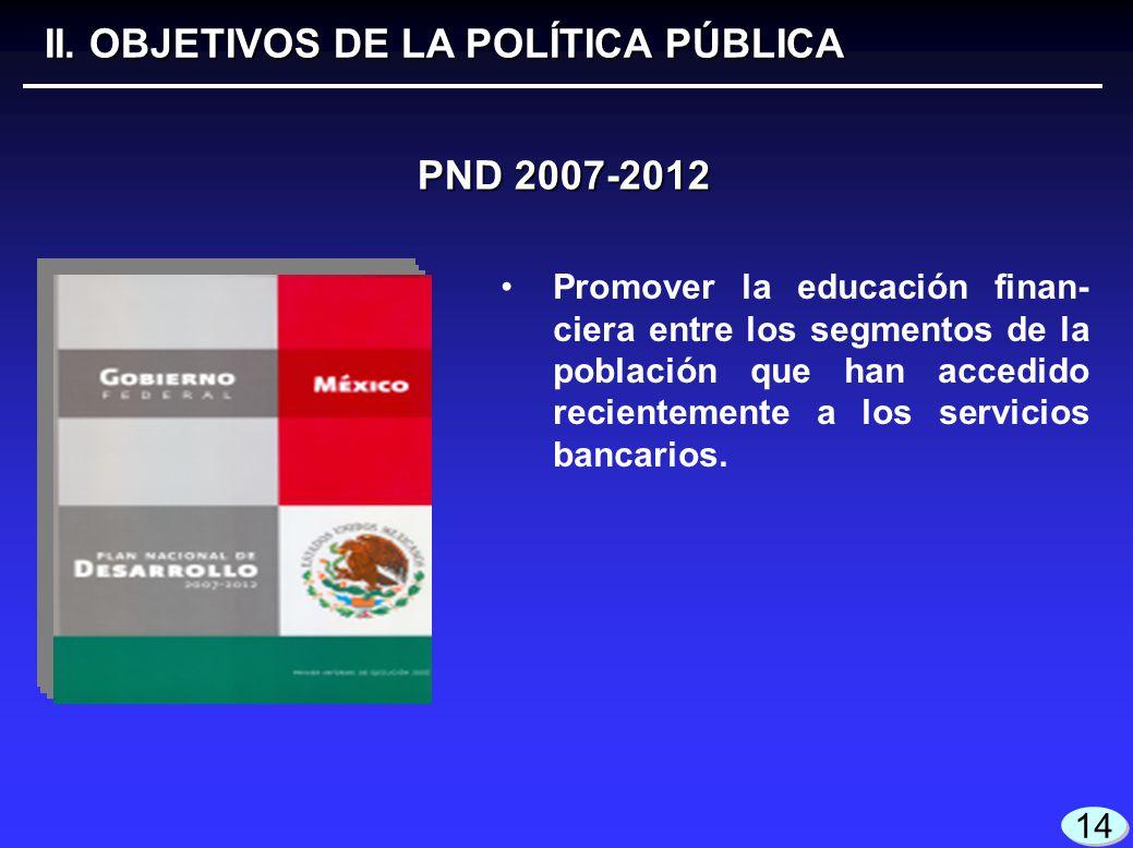 14 PND 2007-2012 II. OBJETIVOS DE LA POLÍTICA PÚBLICA Promover la educación finan- ciera entre los segmentos de la población que han accedido reciente