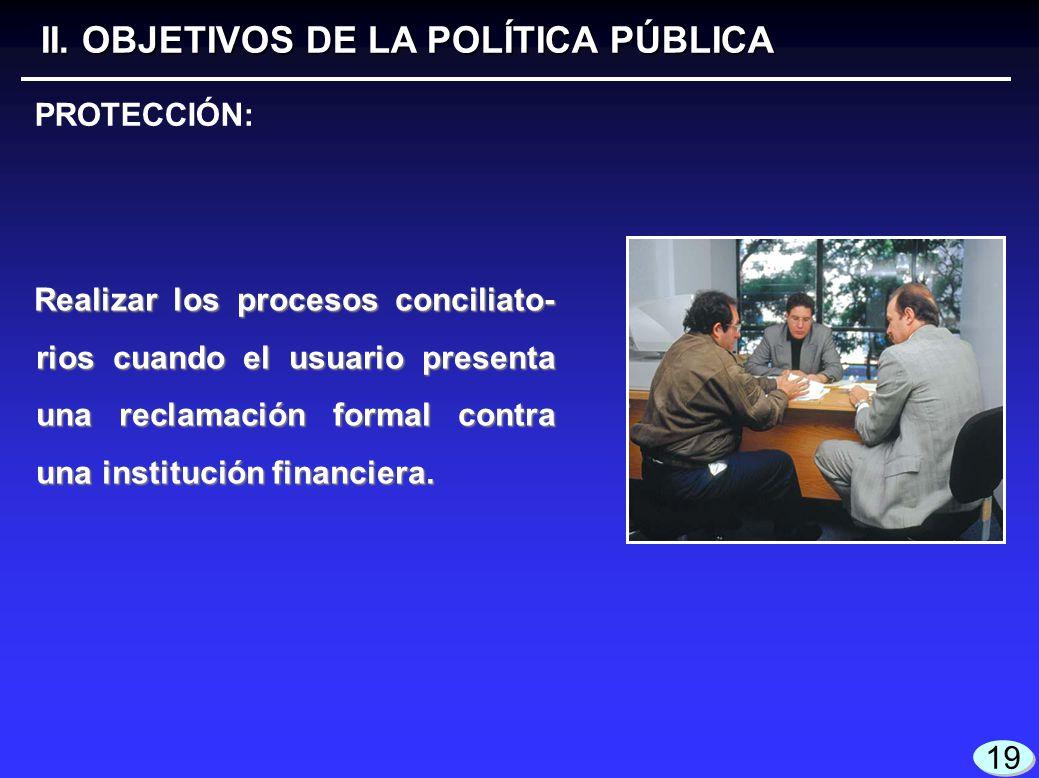 19 Realizar los procesos conciliato- rios cuando el usuario presenta una reclamación formal contra una institución financiera. II. OBJETIVOS DE LA POL