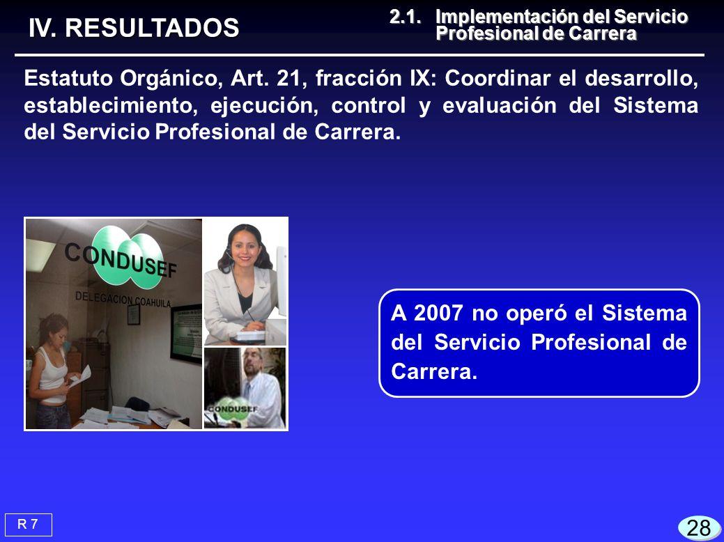 28 Estatuto Orgánico, Art. 21, fracción IX: Coordinar el desarrollo, establecimiento, ejecución, control y evaluación del Sistema del Servicio Profesi
