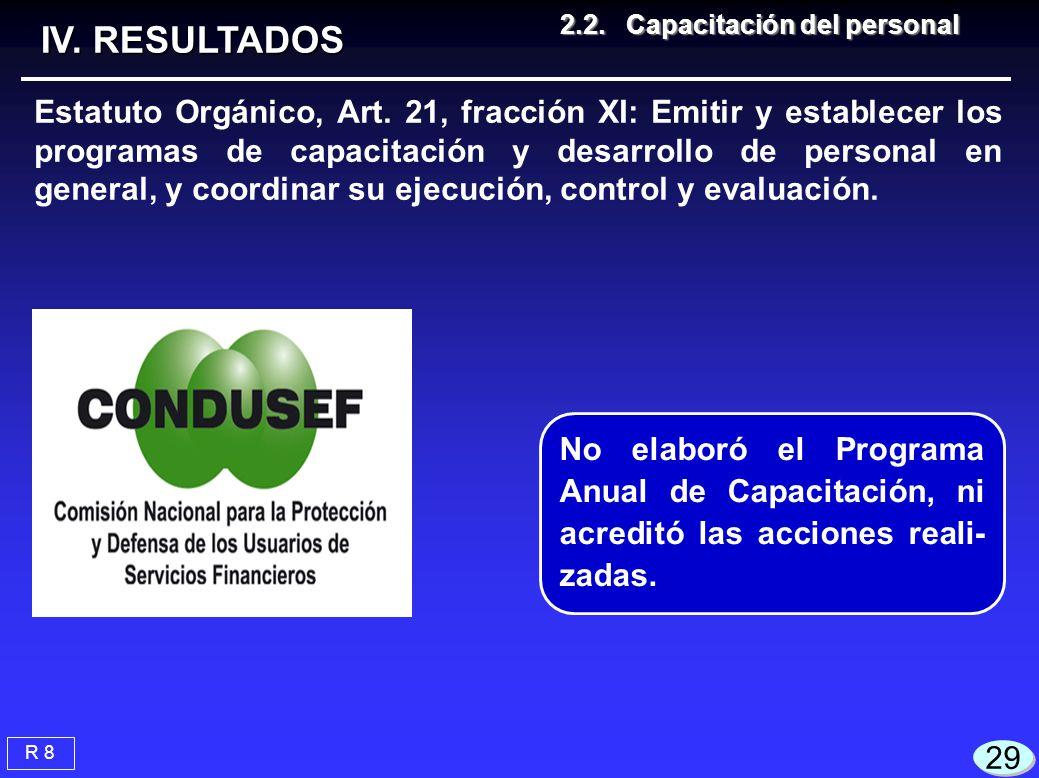 29 R 8 2.2.Capacitación del personal 2.2.Capacitación del personal IV. RESULTADOS Estatuto Orgánico, Art. 21, fracción XI: Emitir y establecer los pro
