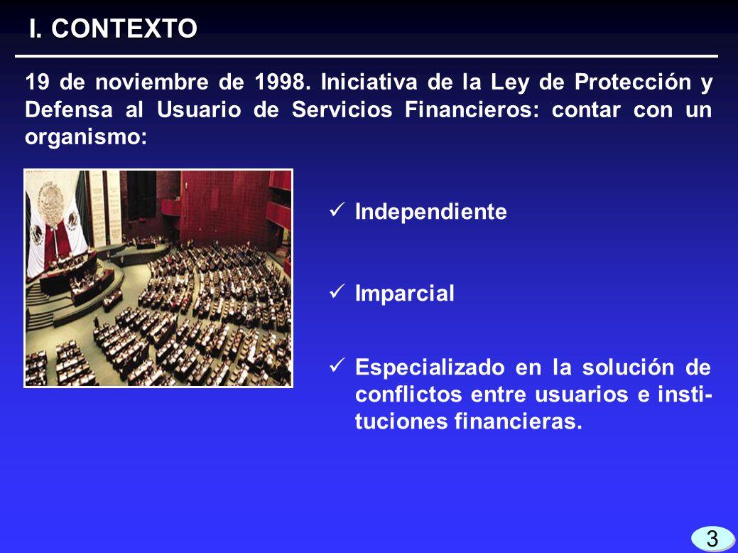 3 3 Independiente Imparcial Especializado en la solución de conflictos entre usuarios e insti- tuciones financieras. I. CONTEXTO 19 de noviembre de 19