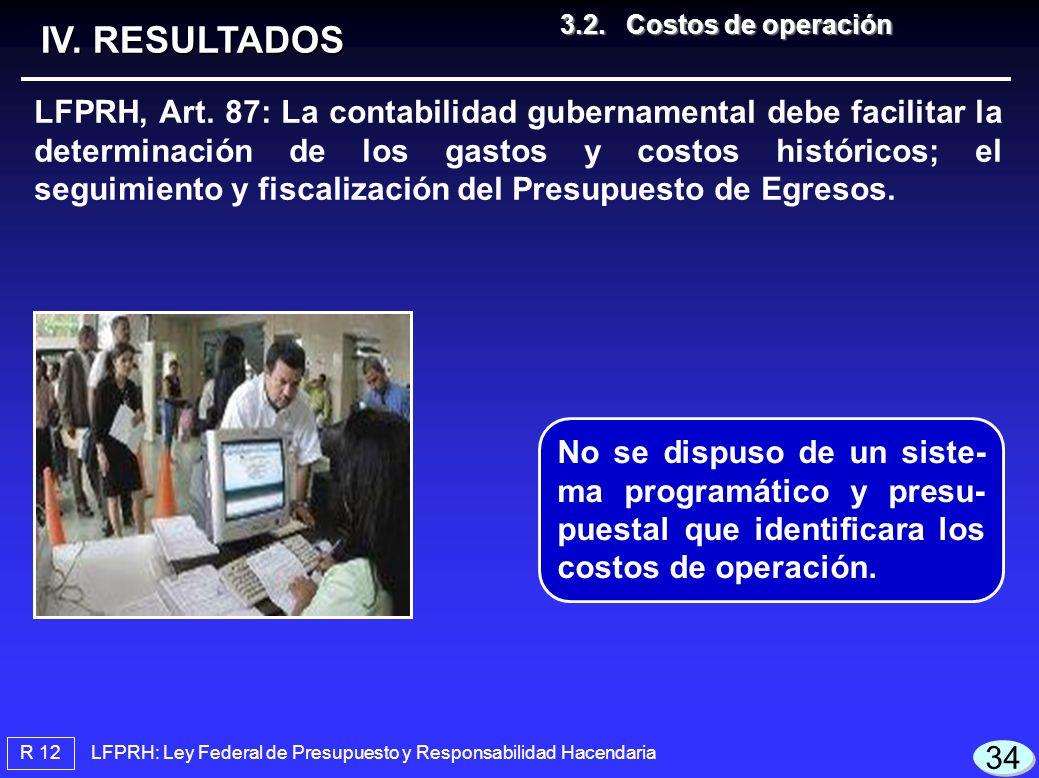 LFPRH: Ley Federal de Presupuesto y Responsabilidad Hacendaria R 12 3.2.Costos de operación 3.2.Costos de operación IV. RESULTADOS LFPRH, Art. 87: La