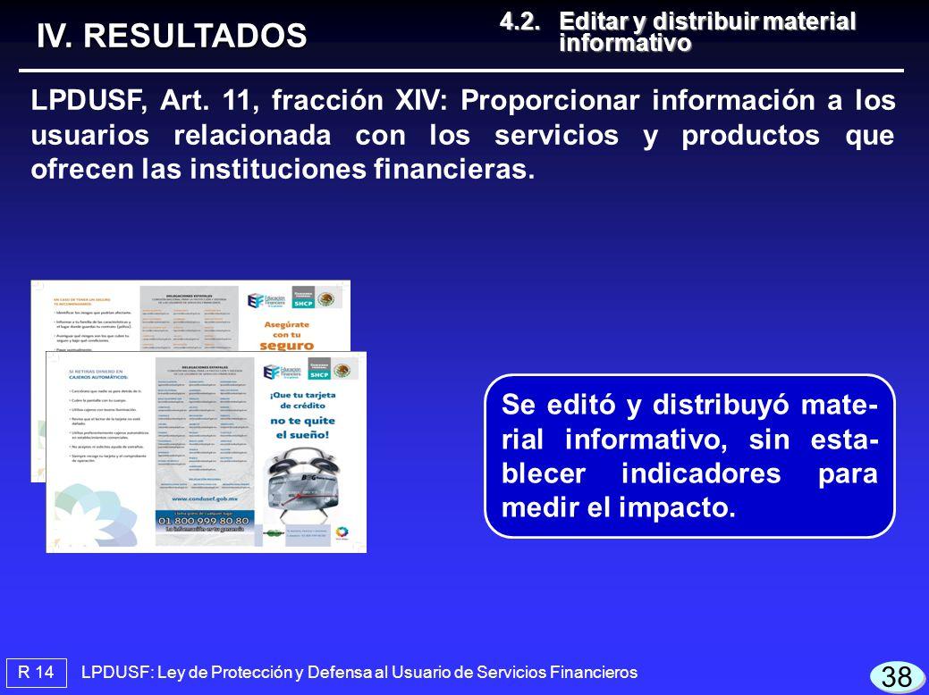 LPDUSF: Ley de Protección y Defensa al Usuario de Servicios Financieros R 14 4.2.Editar y distribuir material informativo 4.2.Editar y distribuir material informativo IV.