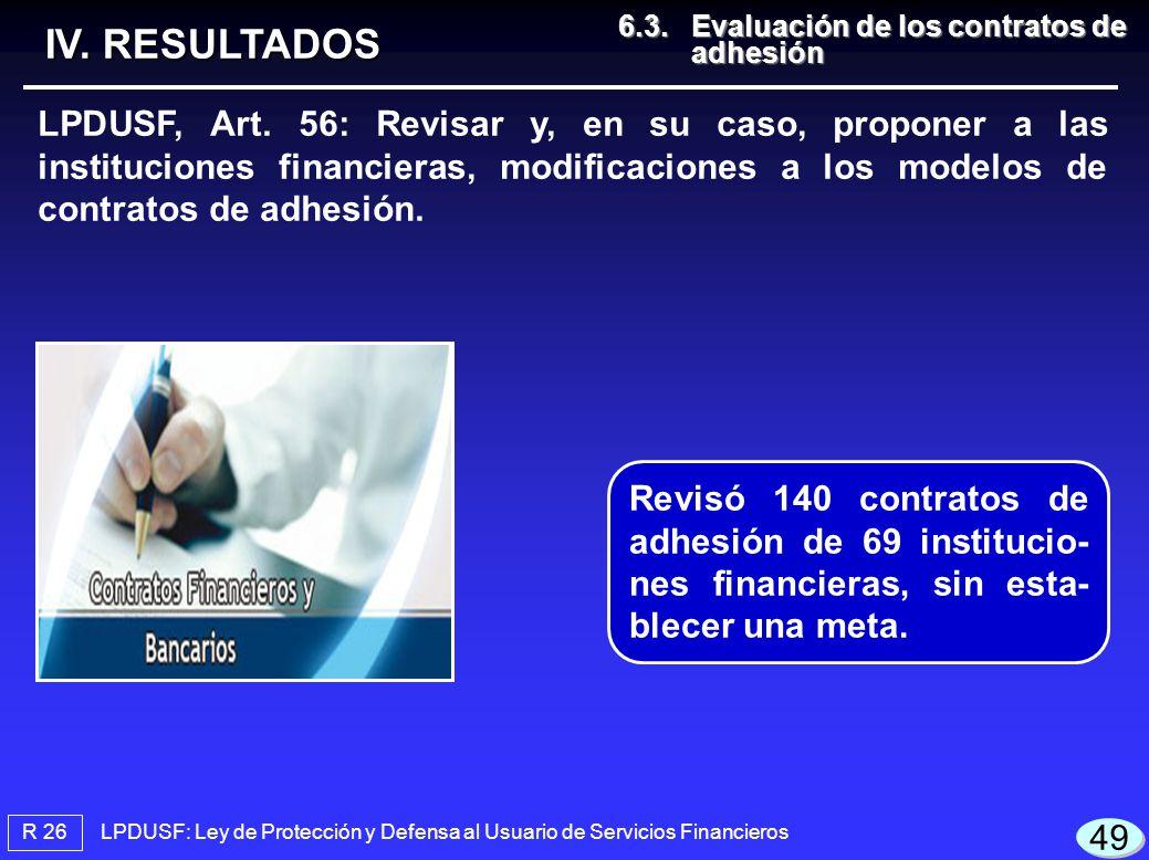 LPDUSF: Ley de Protección y Defensa al Usuario de Servicios Financieros R 26 IV. RESULTADOS LPDUSF, Art. 56: Revisar y, en su caso, proponer a las ins