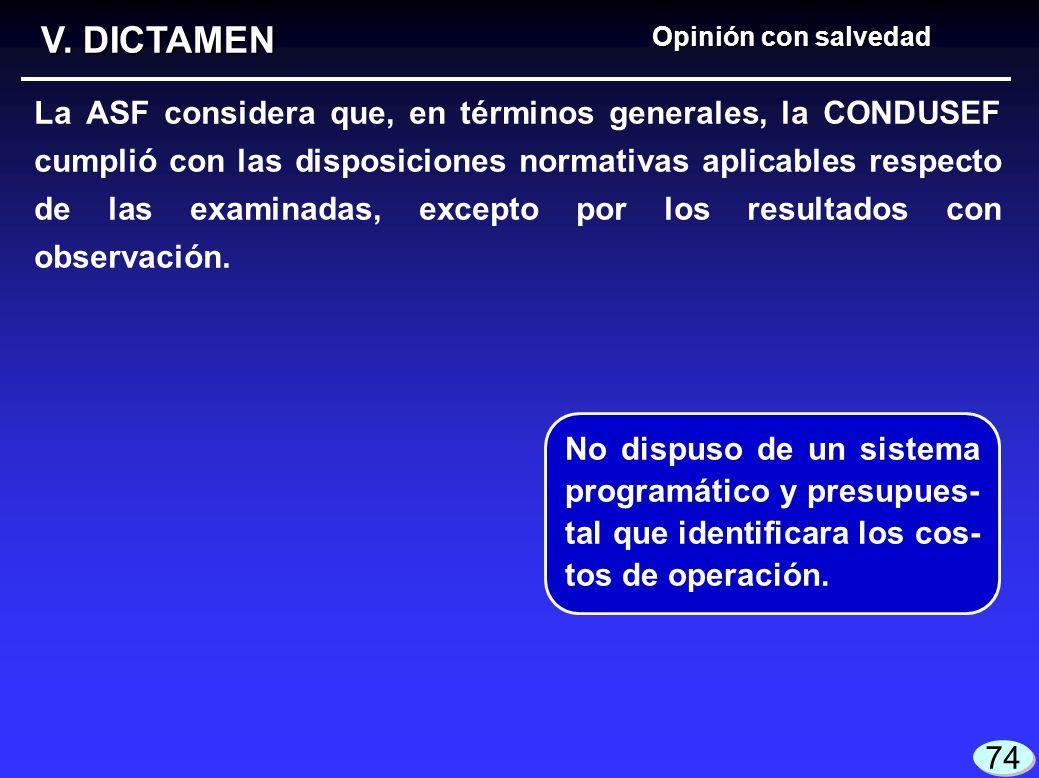 Opinión con salvedad V. DICTAMEN La ASF considera que, en términos generales, la CONDUSEF cumplió con las disposiciones normativas aplicables respecto