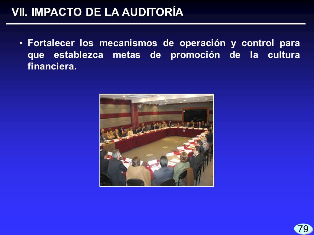 VII. IMPACTO DE LA AUDITORÍA Fortalecer los mecanismos de operación y control para que establezca metas de promoción de la cultura financiera. 79