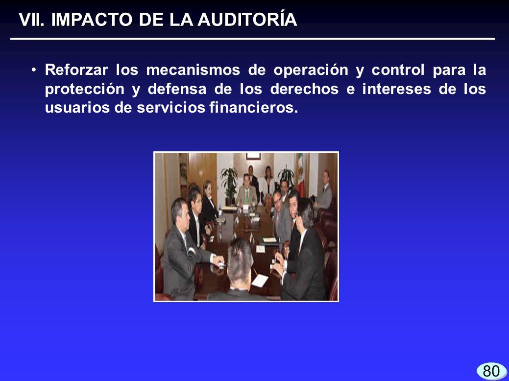 VII. IMPACTO DE LA AUDITORÍA Reforzar los mecanismos de operación y control para la protección y defensa de los derechos e intereses de los usuarios d
