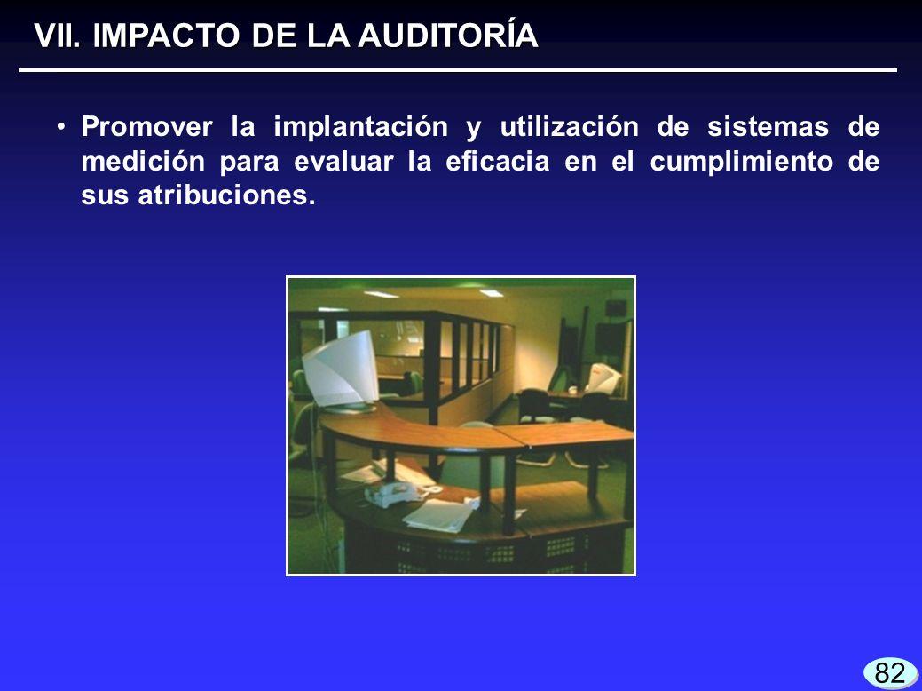 VII. IMPACTO DE LA AUDITORÍA Promover la implantación y utilización de sistemas de medición para evaluar la eficacia en el cumplimiento de sus atribuc