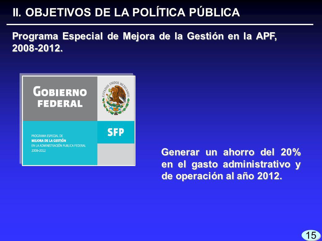 Generar un ahorro del 20% en el gasto administrativo y de operación al año 2012.