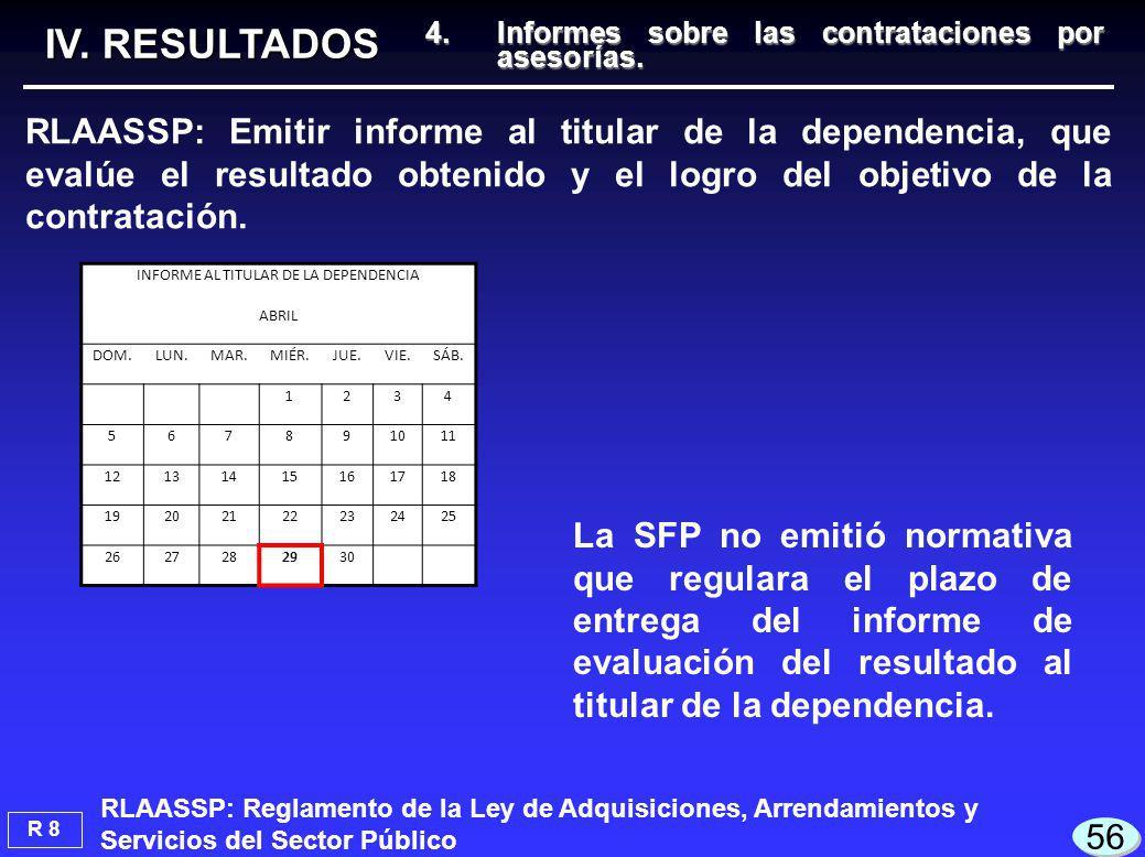 IV. RESULTADOS La SFP no emitió normativa que regulara el plazo de entrega del informe de evaluación del resultado al titular de la dependencia. RLAAS