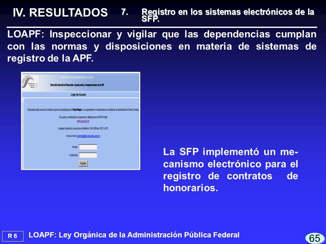 R 6 IV. RESULTADOS 65 7.Registro en los sistemas electrónicos de la SFP.