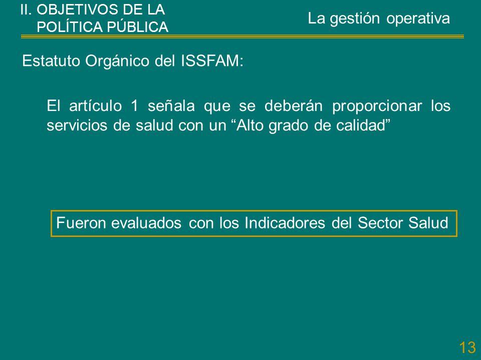 13 Estatuto Orgánico del ISSFAM: El artículo 1 señala que se deberán proporcionar los servicios de salud con un Alto grado de calidad Fueron evaluados