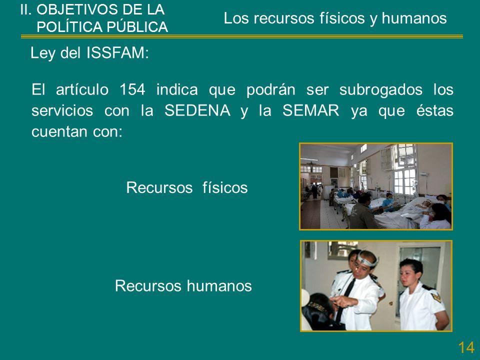 14 El artículo 154 indica que podrán ser subrogados los servicios con la SEDENA y la SEMAR ya que éstas cuentan con: Ley del ISSFAM: Recursos humanos