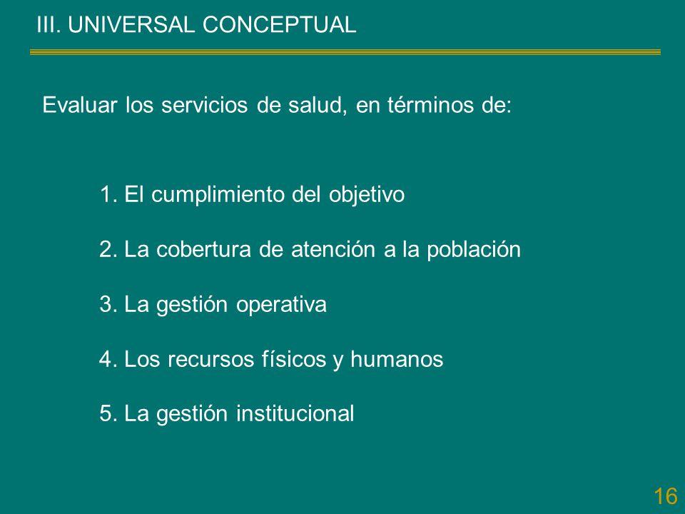 16 III. UNIVERSAL CONCEPTUAL Evaluar los servicios de salud, en términos de: 1. El cumplimiento del objetivo 2. La cobertura de atención a la població