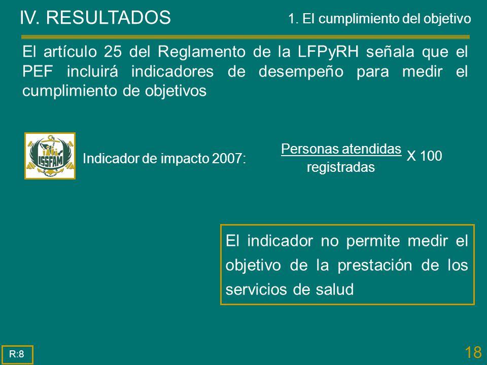 18 IV. RESULTADOS El indicador no permite medir el objetivo de la prestación de los servicios de salud R:8 El artículo 25 del Reglamento de la LFPyRH