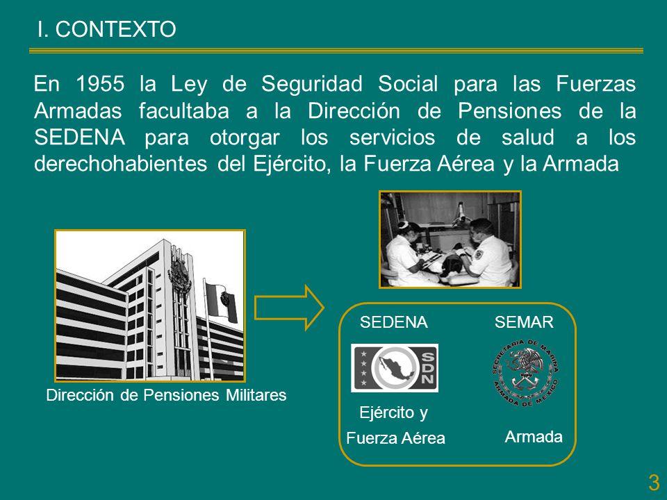 3 En 1955 la Ley de Seguridad Social para las Fuerzas Armadas facultaba a la Dirección de Pensiones de la SEDENA para otorgar los servicios de salud a