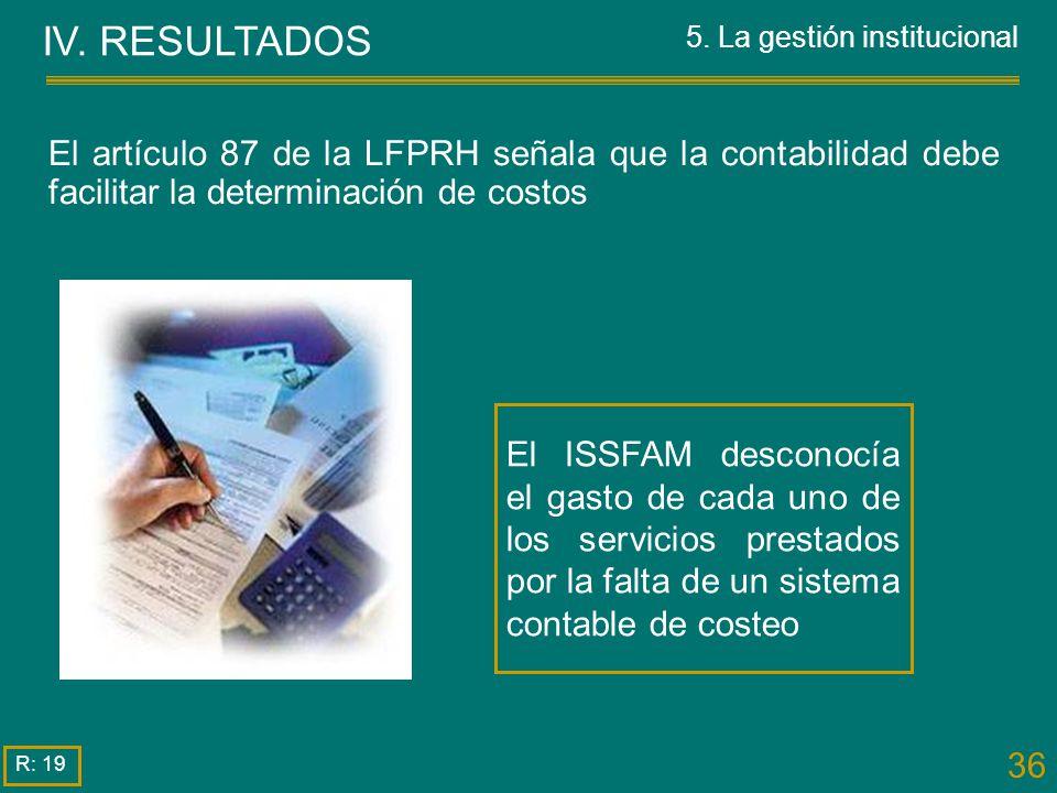 36 El artículo 87 de la LFPRH señala que la contabilidad debe facilitar la determinación de costos IV. RESULTADOS 5. La gestión institucional R: 19 El
