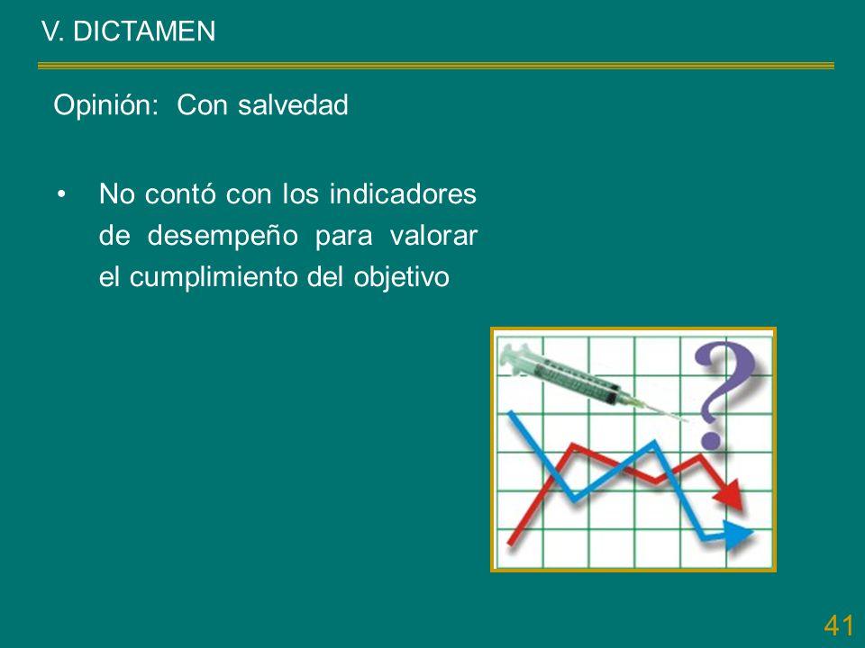 41 V. DICTAMEN No contó con los indicadores de desempeño para valorar el cumplimiento del objetivo Opinión: Con salvedad