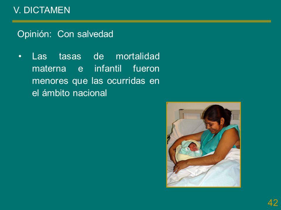 42 V. DICTAMEN Las tasas de mortalidad materna e infantil fueron menores que las ocurridas en el ámbito nacional Opinión: Con salvedad