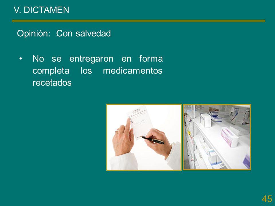 45 V. DICTAMEN No se entregaron en forma completa los medicamentos recetados Opinión: Con salvedad