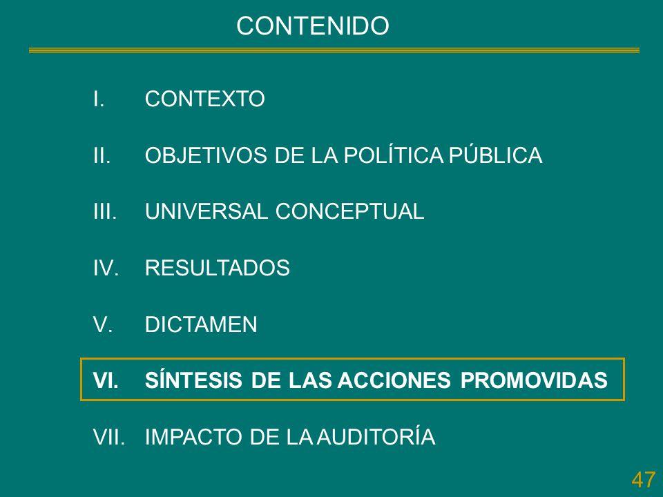 47 CONTENIDO I.CONTEXTO II.OBJETIVOS DE LA POLÍTICA PÚBLICA III.UNIVERSAL CONCEPTUAL IV.RESULTADOS V.DICTAMEN VI.SÍNTESIS DE LAS ACCIONES PROMOVIDAS V