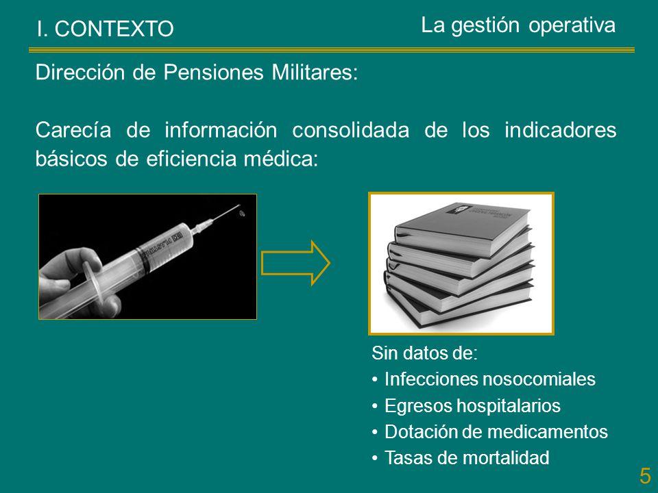 5 I. CONTEXTO Carecía de información consolidada de los indicadores básicos de eficiencia médica: Dirección de Pensiones Militares: Sin datos de: Infe
