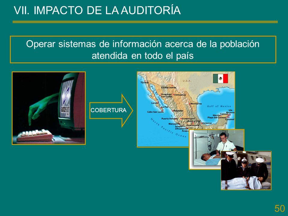 50 VII. IMPACTO DE LA AUDITORÍA Operar sistemas de información acerca de la población atendida en todo el país COBERTURA